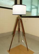 DESIGNER MARINE TRIPOD FLOOR LAMP RETRO VINTAGE TEAK WOOD TABLE LIGHT FLOOR LAMP