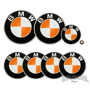 For BMW Badges - Gloss Orange  - All Models Decals Wrap Stickers Overlays