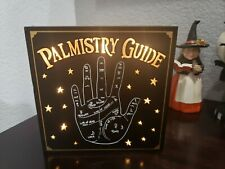 """Halloween Palmistry Guide LIGHTED Tabletop Prop Wall Sign Home Decor 7.75"""""""