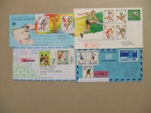 Four registered express covers ONLY with SOCCER stamps.Three are aerograms