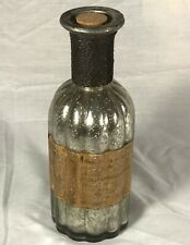 New Vintage Style Glass Decorative Wine Bottle with Cork Silver w Label