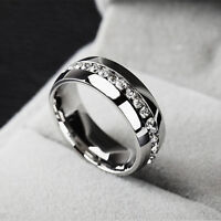 Unisex Wedding Gift Silver Titanium Stainless Steel Plain Ring Crystal Size 7-11