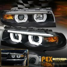 1995-2001 BMW 7-Series E38 740 750i 750iL Glow Halo Projector Black Headlights