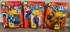 Lot of 3 1991 Marvel X-Men Figure Cyclops Archangel Wolverine New Damaged Cards