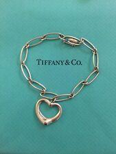 Authentic Tiffany & Co. Vintage Elsa Peretti Silver Heart Charm Dangle Bracelet