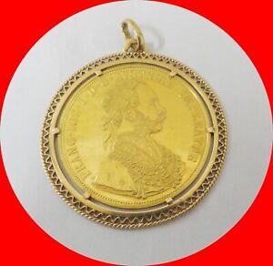 1915 Austrian 4 Ducat 0.4438oz Gold Coin In 18K Gold Pendant