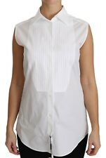 DOLCE & GABBANA White Sleeveless Pleat Victorian Blouse Shirt *NWT* - UK 6