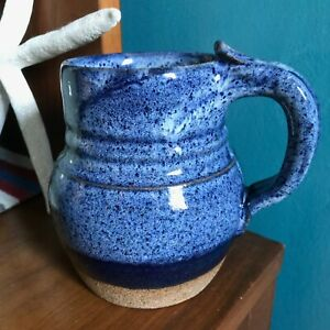 Handmade Large Blue Ceramic Mug Coffee/Tea/Cocoa Signed Janis