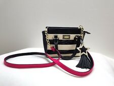 BETSEY JOHNSON Mini Barrel Crossbody Bag Black & White Stripes & Pink Strap-CUTE