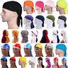 Durag Headwear Headband Pirate Cap Hat Smooth Silk Nylon Cap Solid Color Unisex