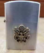"""Vintage Crest-Craft """"US Army""""  WORKING Wind-proof SILVER TONE Lighter"""