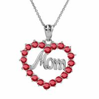 """.925 Sterling Silver """"MOM"""" Ruby (LCR) Open Heart Pendant Necklace"""