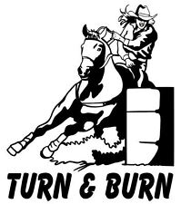 Barrel Racing Decals, Turn & Burn, Vinyl Rodeo Sticker