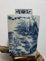 Chinese Old Blue and White Porcelain Square Ginger Jar With Lid