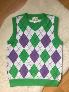 The Children's Place Boys Green Purple White Sweater Vest Size 7-8 M