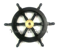 "18"" Black Wooden Ship's Steering Wheel Nautical Pirate Wall Boat Decor Wheel"