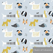 Designer Upholstery Curtain Childrens Kids Nursery Baby Dog Dogs Fabric Material