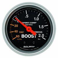 "AutoMeter HG-2.0 BAR 2-1/16"" Sport-Comp Analog Boost/Vacuum Gauge * 3303-M *"