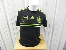 ADIDAS SPAIN NATIONAL FOOTBALL/SOCCER TEAM SMALL BLACK/NEON GREEN 2010 PRE OWNED