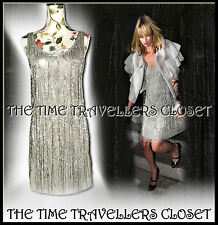Kate Moss Topshop 1/500 LTD Vintage Crystal Silver Beaded Flapper Dress UK 8 10