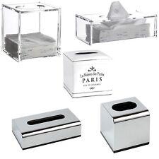 Tissue Box Cover Holder Clear Acrylic / Chrome Plastic / White Ceramic