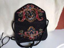 LILLIAN VERNON Beaded Handbag Shoulder Bag Purse Black  VINTAGE