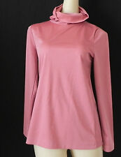 Vtg Aileen Top Long Sleeve Extra Long Turtle Neck Dark Pink Jersey Size S