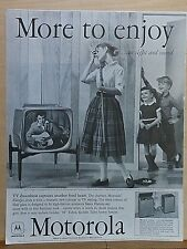 1958 magazine ad for Motorola TV sets - model 21P1, teen girl swoons over singer