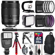 Canon 18-135mm IS USM -Video Kit + Slave Flash + Monopad - 64GB Accessory Bundle