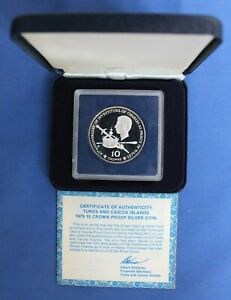 """1979 Turks & Caicos Silver Proof 10 Crown coin """"Prince Charles"""" in Case with COA"""