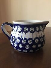 Boleslawiec Polish Pottery Zaklady Ceramic Jug/Pitcher in the Peacock Pattern