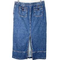 Jones New York Sport Long Denim Jean Skirt Modest Slit Buttons Pockets Size 14