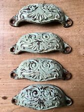 Set Antique Drawer Pull Cup Handles Kenrick & Sons Victorian Vintage Cast Iron