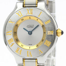 Polished CARTIER Must 21 Gold Plated Steel Quartz Ladies Watch W10073R6 BF511642