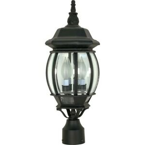 """Nuvo Central Park 3 Light 21"""" Post Lantern w/ Clear Beveled Glass - 60-899"""