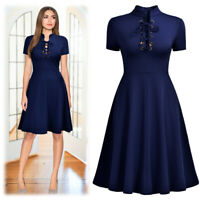 Women's A-Line Collar Lace Up Navy Blue Dress, For Causal and Many Occasions!