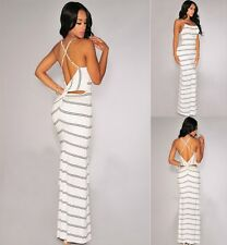 Sz S 8 10 Black Striped Crisscross Back Formal Casual Party Maxi Long Dress