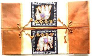 THAI SILK TISSUE BOX COVER BROWN CASE HOME DÉCOR HANDMADE ELEPHANT HANDCRAFTS