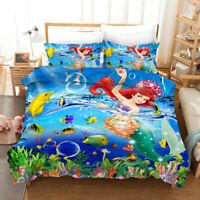 3D Cartoon Mermaid Sea Quilt Cover Set Bedding Duvet Cover Single/Queen/King 62
