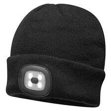 Black Light Up Beanie Winter Hat with USB Rechargeable LED Headlamp Flashlight