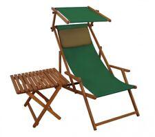Chaise Longue Vert Transat pour Jardin Bois Coussin Toit Ouvrant Table 10-304 S