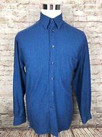 Zanella Mens Medium Blue Windowpane Long Sleeve Button Front Shirt