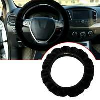 Black Warm Soft Fuzzy Plush Car Auto Steering Wheel Cover Universal For Winter