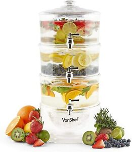 Dispenser Drink Beverage Gallon Glass Cold Jar Stand Tea Party Ice 3 Tiers Wine