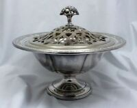 Towle Louis XIV Sterling Silver Center Bowl Footed w/ Frog cover