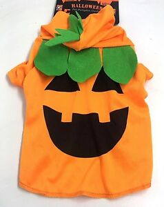 Dog Pet Halloween Orange Pumpkin Outfit Costume New