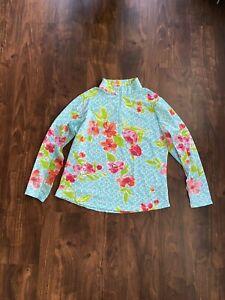IBKUL 1/4 Zip Mock Neck Floral Long Sleeve Top Women's Size XL