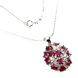 Oval Red Ruby 4x3mm Cz 14K White Gold Plate 925 Sterling Silver Necklace 18 Ins