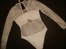 NWT Victoria's Secret MONOKINI one-piece WHITE NETTED NET long-sleeve Large L