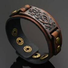 Punk Men Womens Wid Leather Belt Bracelet Cuff Wristband Bangle Accessorites UK